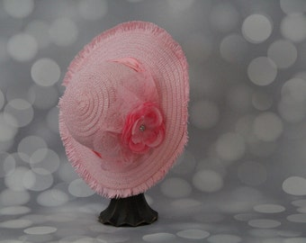 Tea Party Hat; Pink Easter Bonnet with Ribbon; Girls Sun Hat; Pink Easter Hat; Sunday Dress Hat; Derby Hat; 16284