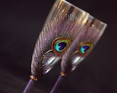 Peacock Wedding Champagne Glasses, HAND PAINTED, Indian Wedding Glasses, Champagne Flutes, SET of 2