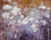 Abstract Painting Abstract Flowers garden painting Purple ochre blue  To Remember    18x24x1.5   Swalla Studio