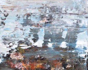 Abstract Painting Landscape painting Atmospheric painting  texture cream blue pink To Remember 12x 24  Swalla Studio