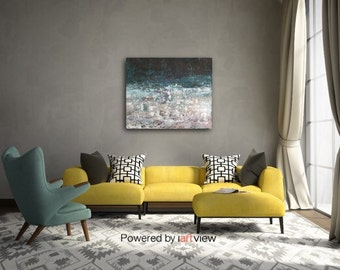 Abstract Painting Landscape painting Atmospheric painting Indigo Ocean Blue lavender  texture What's Lost Swalla Studio