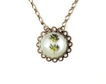 Lavender Flower Necklace, Resin Cabochon Necklace, Lavender Jewellery, Flower Jewellery, Resin Jewellery, Botanical Jewellery, UK, 1859
