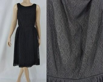 SALE Vintage Sixties Dress - 1960s Black Lace Dress - 60s Party Dress - XS Sleeveless Lace Dress