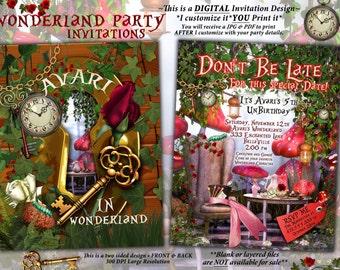 WonderLand Birthday Party Invitation, Wonderland Tea Party Invitation