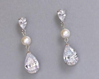 Crystal Drop Earrings, Crystal & Pearl Bridal Earrings, Crystal Earrings, Crystal Drop Bridesmaids Earrings, DENISE
