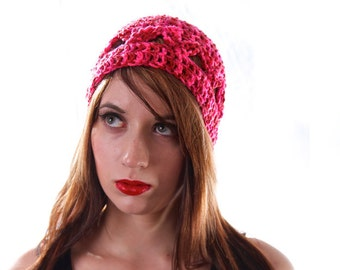 Pink Beanie, Crochet Hat, Festival Clothing, Summer Hat, Teen Fashion, Crochet Beanie, Lightweight Hat, Tween Girl Gifts, Hot Pink Red Ombre