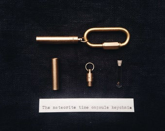 Meteorite Fragment Time Capsule Men's Keychain
