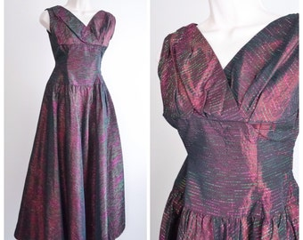 1950s Burgundy lurex tinsel taffeta evening dress / 50s wine red full length gown - S