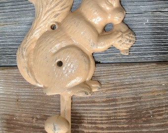 Squirrel Hook, Cast Iron Squirrel Hook,  Wall Hook, You Pick Color