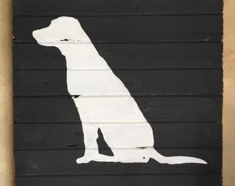 Rustic Barn Wood Wall Decor  • Black & White Lab Silhouette Wall Art • Labrador Retriever Full Body Chalk Paint Wall Hanging - Ready to Ship