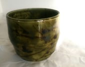 Green and Brown Hand thrown  Ceramic Bowl