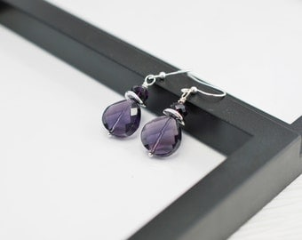 Purple Earrings, Purple and Silver, Purple Crystal Earrings, Faceted Crystal Earrings, Purple Drop Earrings, Royal Purple, Free Shipping