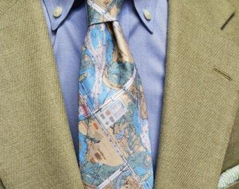 Map Necktie, Charleston Map Tie, Charleston SC, Coastal Tie, Southern Tie, Preppy Tie, Beach Wedding, Handmade Tie, Unique Tie, Necktie,