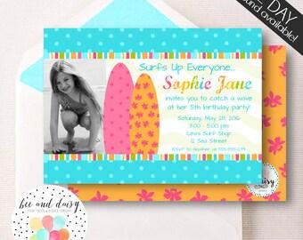 Girls Surf Board Invitation, Surf Board Birthday Invitation, Surf Board Party, Girl First Birthday, Girl Birthday, Surf Board Invite