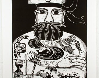 linocut, Tattoodles, black and white, tattoo, sailor, beard, strong man, masculine, gift for him, sailing, boating, ocean, seaside, beach
