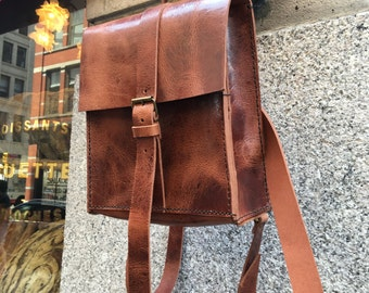 iPad backpack, Thick leather rucksack, City purse convertible backpack, Mini Tablet bag, Handmade leather mini backpacks and rucksacks