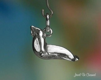 Sterling Silver Fur Seal or California Sea Lion Charm 3D Solid .925