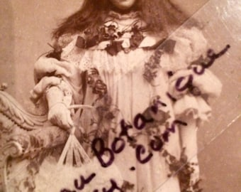 Girl With Flowers and Fan Cabinet Photo - Long Hair - Antique Photo