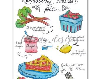Strawberry Rhubarb Pie Illustration - Recipe Art - Kitchen Art - Spring Art - Watercolor Art - Art Print - Food Illustration - Food Art
