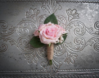 Blush Pink Rose Wedding Boutonniere with Twine