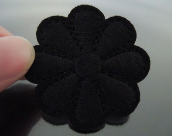 Black Flower Patch Flower patches Badge patch Applique embroidered patch Iron On Patch Sew On Patch