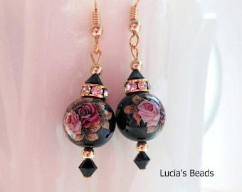 NEW Gorgeous  Pink Twin Roses on Black Japanese Tensha Bead Earrings