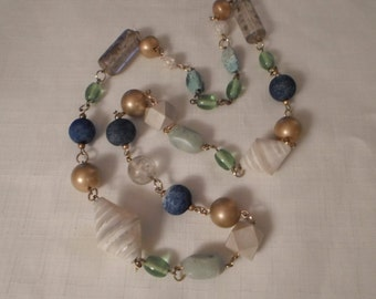 SEA & SAND NECKLACE / Mother of Pearl / Glass / Lucite / Blue / Gold / Nautical / Trendy / Fashionista / Chic / Hip / Couture / Accessory