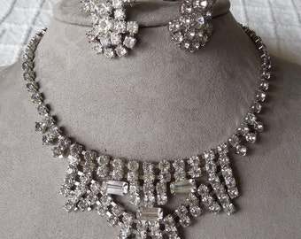 Vintage Rhinestone Choker Necklace & Clip On Earrings Set    NY8