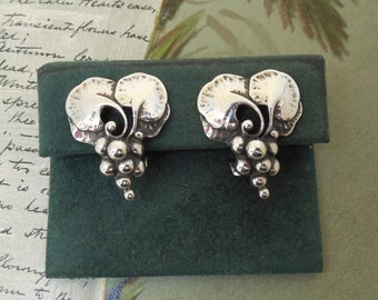GEORG JENSEN Denmark Sterling Silver Annual 1996 Clip On Earrings Earclips