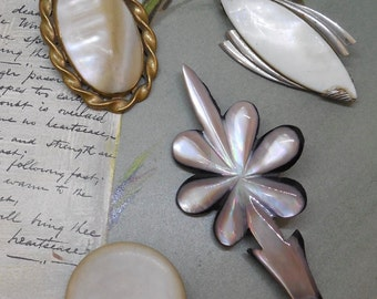 4 pc Antique Mother of Pearl Brooch Lot