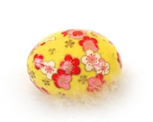 Washi Egg Decoration - Bright Yellow Floral