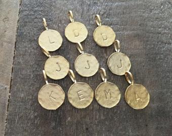 Gold Vermeil Initial Letter Pendants, Oval Bail/Loop - 10pcs