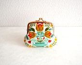 Vintage Folk floral tulips tiny coin purse - OOAK - dutch, floral. Handmade in Japan. Ready to ship.