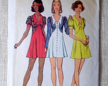 Vintage sewing pattern Simplicity 5499 dress collar 1970s Bust 32 Size 10 Mini Skirt