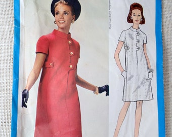 Vogue Americana 2021 Chuck Howard Vintage Dress Pattern 1960s Bust 31.5 Mod Secretary Seam interest coat dress A line Twiggy Martingale belt