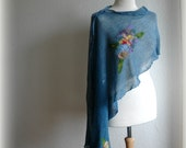 Delicate Poncho Blue  Linen Knitted With Felt Flower Application Art Eco Friendly Natural Organic