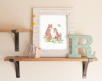 Fox Art Print, Woodland Nursery Art, Watercolor Nursery Art, Woodland print, Children's Wall Art, fox nursery art, Forest Nursery Decor