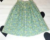 80's Laura Ashley floral cotton skirt 1980's pastel green blue printed full skirt / summer / country / Lolita / prairie / 28 high waist M  L
