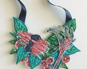Australiana necklace - wildflower - neckpiece - Aussie - Australian Wildflowers - vintage fabric - thread drawn