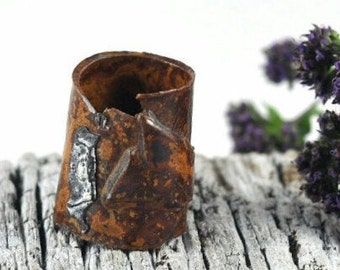 Statement Ceramic Ring Mens Womens Pottery Jewelry Orange Brown Rustic Handmade