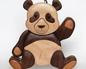 Panda Bear Intarsia Wooden Ornament Magnet Wood Carving Stuffed Animal Winter Holiday Decoration Personalized Christmas Tree Deco