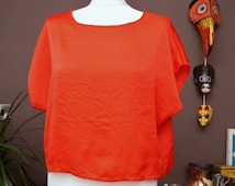 Women's red plain top -boho top - bohemian- festival top - festival clothing - boho fashion - blouse - summer top