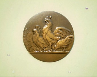 Poultry - Chickens & Turkey - Vintage Round Metal Stamping - Medal or Award