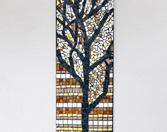 Autumn Tree Mosaic       Wall hanging, fall, bare tree, leaves, branchy, gold, brown, yellow, October