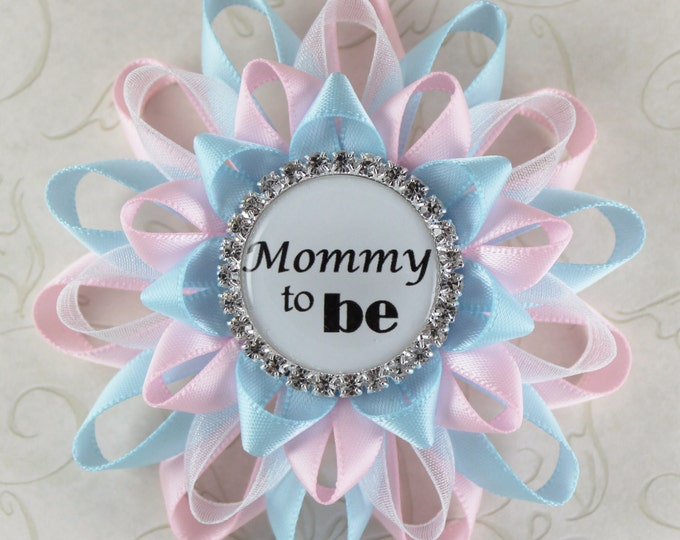 Mommy to Be Pin, Pale Pink, Light Blue, Gender Reveal Decorations, Gender Neutral Baby Shower, Boy or Girl, New Mom Gift, Mom to Be Corsage