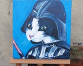 Darth Vadar Cat Art Original Art Acrylic Painting on Canvas OOAK Star Wars