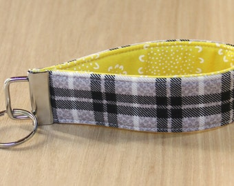 Key Fob Wristlet - Black and White Plaid with Yellow - Ready to Ship