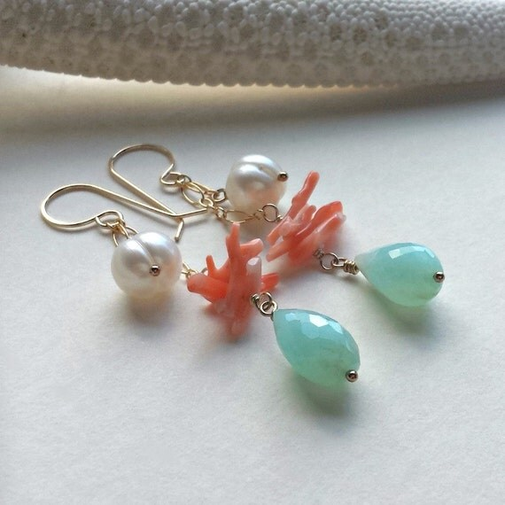 Peach Coral Blue Opal Earrings, Gold Filled Dangle Earrings With Peruvian Blue Opal, White Pearls, and Peach Coral