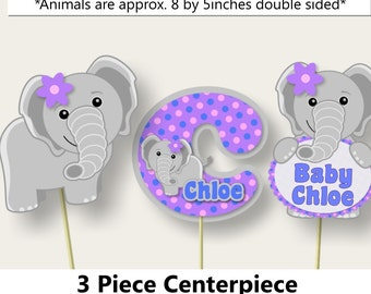 Purple Baby Girl Elephant Baby Shower 3 PIECE CENTERPIECE or Elephant Birthday Party Invitation, Decorations, Banner, Centerpiece