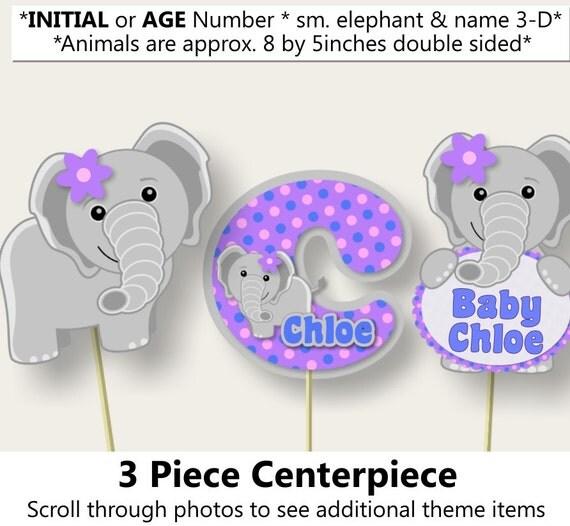 purple baby girl elephant baby shower 3 piece centerpiece or elephant